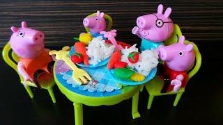 Пеппа на кухне. Готовим ужин для семьи Свинок. Просьба мамы. Овощи из пластилина Play-Doh