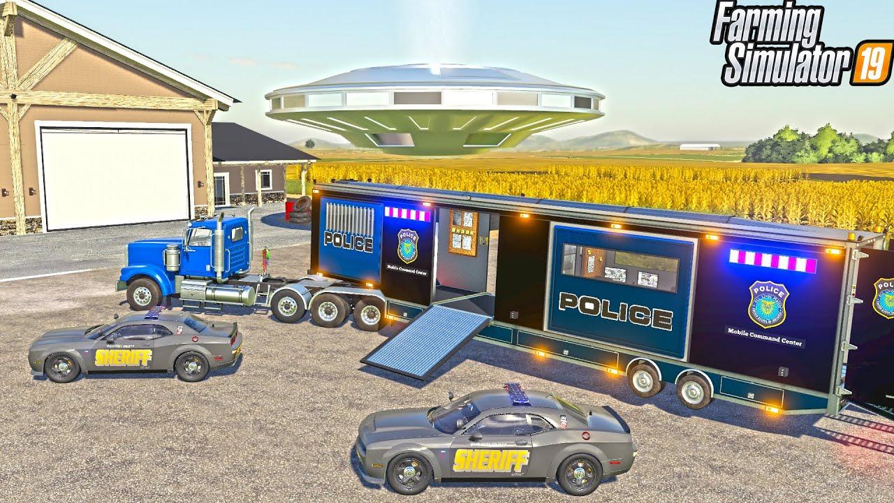 UFO SPOTTED IN CORN FIELD (SECRET FBI AGENTS) | FARMING SIMULATOR 2019