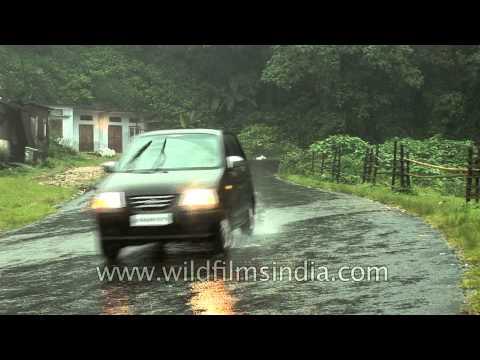 Maruti Wagon R on a wet road in Shillong, Meghalaya