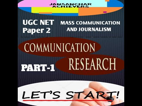 COMMUNICATION RESEARCH  UNIT 10 / UGC NET / MASS COMMUNICATION