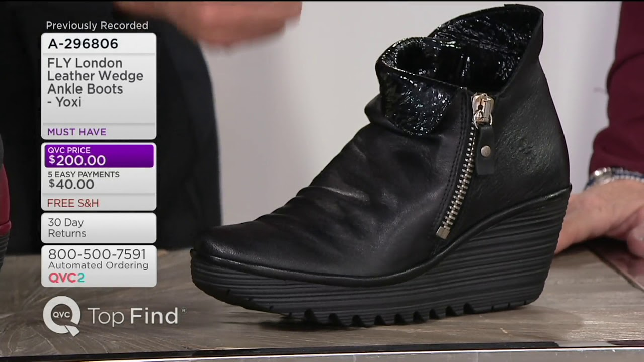 39990a14c46 FLY London Leather Wedge Ankle Boots - Yoxi on QVC - YouTube