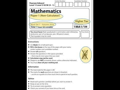Mock Set 1 2016 Paper 1 Higher Non-Calculator