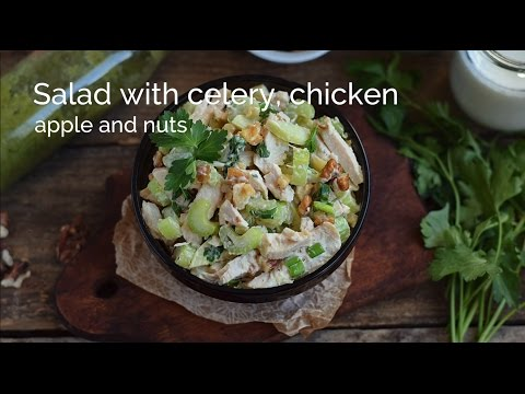 Salad With Celery, Chicken, Apple And Nuts
