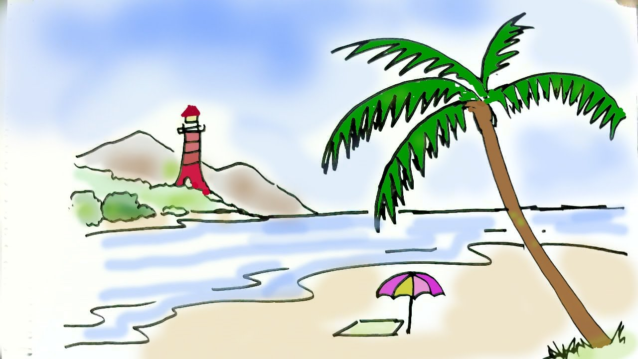 How To Draw A Beach Scene In Easy Steps For Children Beginners
