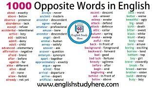 1000 Opposite Words in English | Antonym Words List | Common Opposites