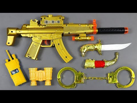 Box Of Toys With Many Colored Toys Equipment - Realistic AK47 Toy Gun | Ball Bullet Machine Gun Toys