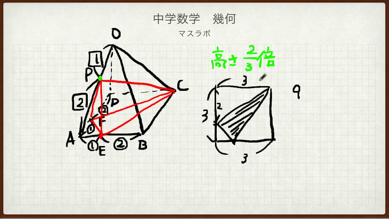 体積 正四 角錐 の