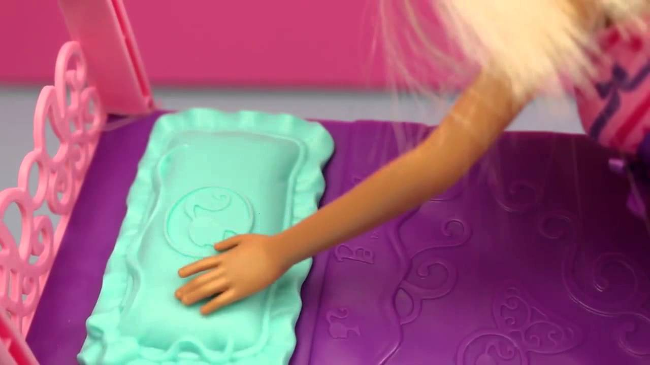 barbie bedroom furniture toy review barbie gets a new bed and clothes by disneycartoys youtube barbie bedroom furniture