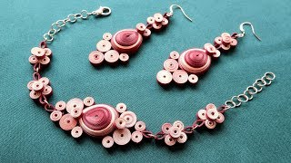 Quilling Earrings and Pendant. Quilling Jewellery Set.