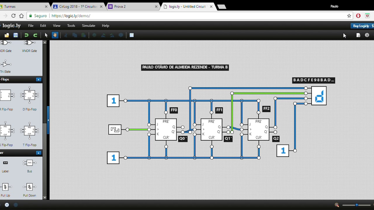 Circuito Xnor : Questão 5 circuitos lógicos prof. paulo villela turma b