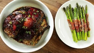 Grilled Pork Chops And Plum Compote