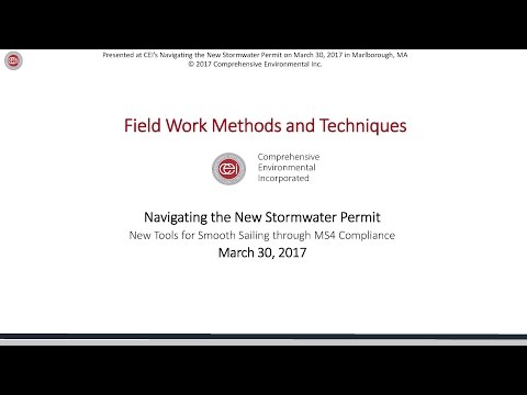 MS4 Stormwater Field Work Methods and Techniques