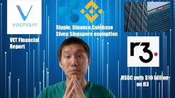 Vechain(VET) Financial report. Ripple, Coinbase, Binance given Singapore exemption. Livestream recap
