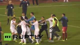 Отборочный матч Евро-2016 Сербия — Албания сорван из-за драки футболистов