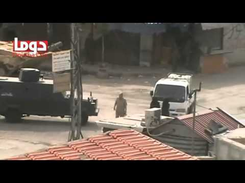 Regime army barges into Douma city by tanks. Monday, April 30, 2012