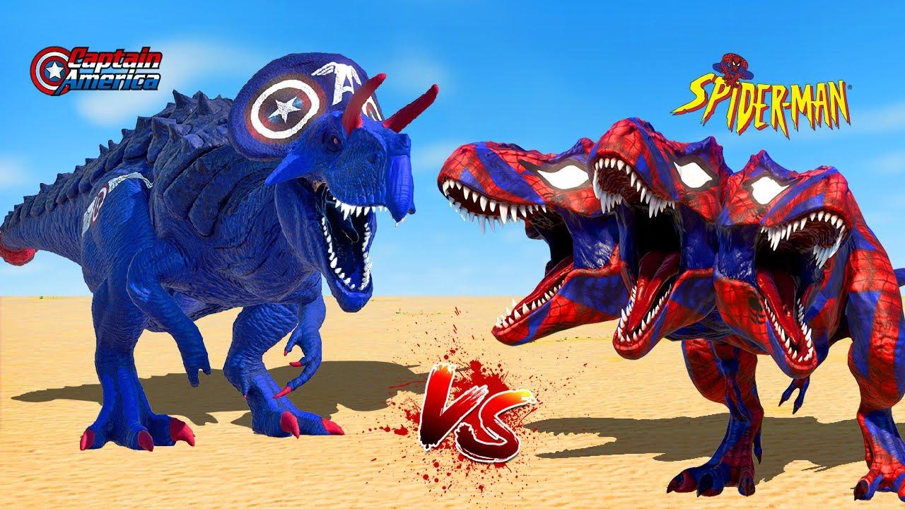 Captain America Ultimasaurus vs 3Head Spiderman T-Rex vs Spinosaurus 🌍 Jurassic World Evolution