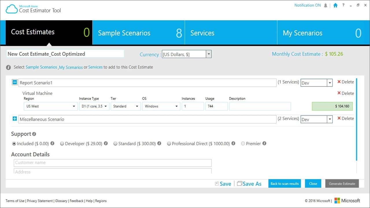 microsoft azure cost estimator tool youtube
