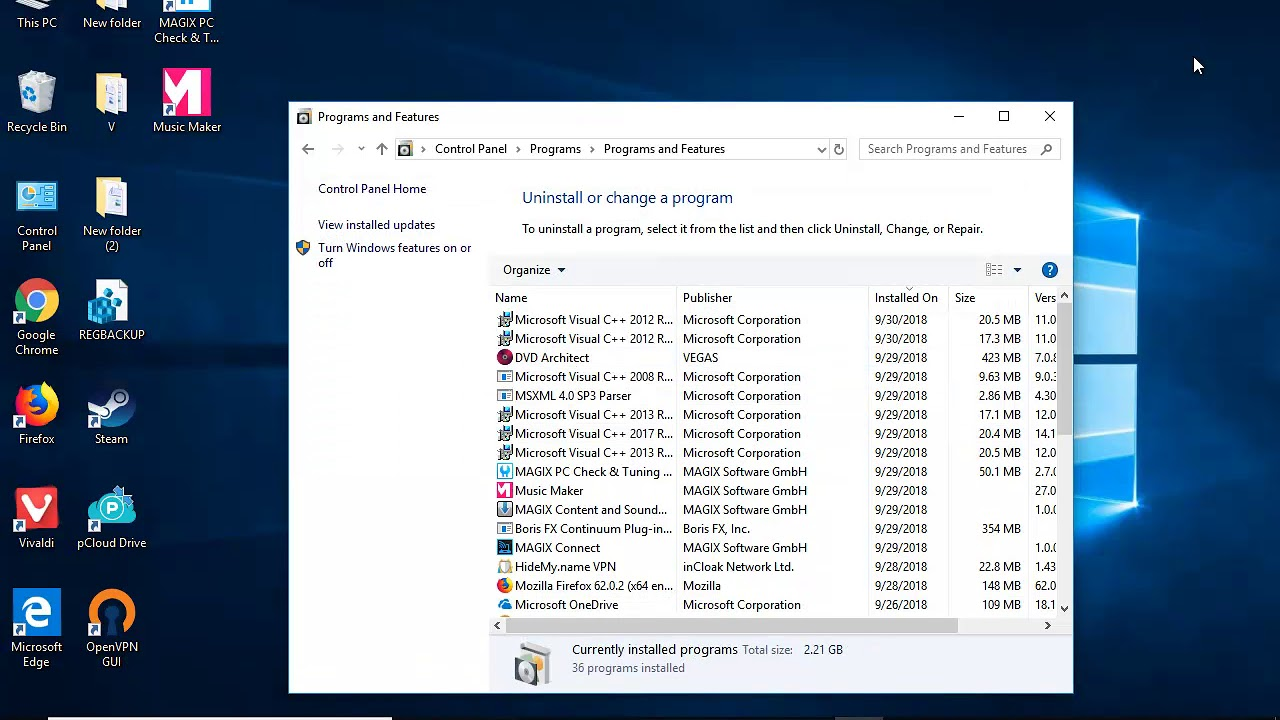 Uninstall Kinect for Windows Runtime in Windows 10