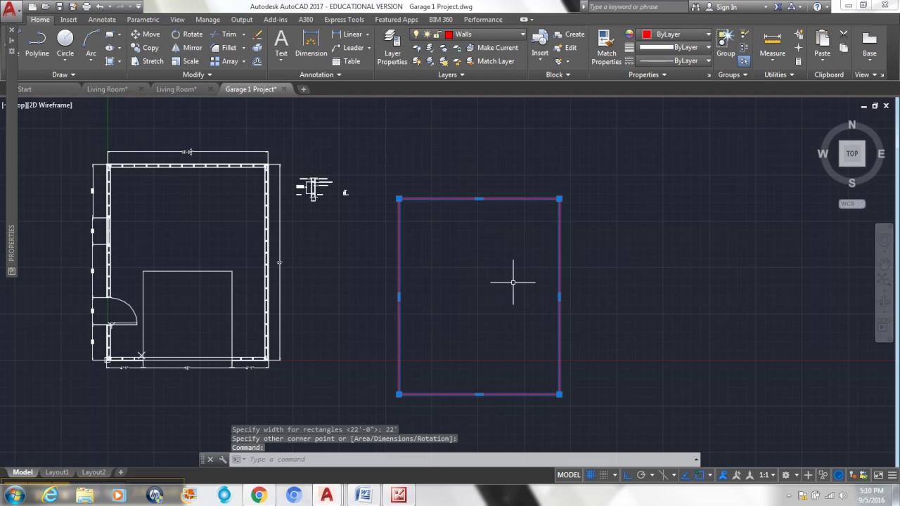 Garage Floor Plan Drawing 1 Youtube