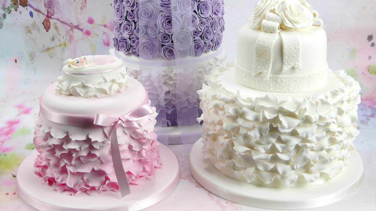 How To Make Beautiful Ruffles Frills On A Cake Youtube
