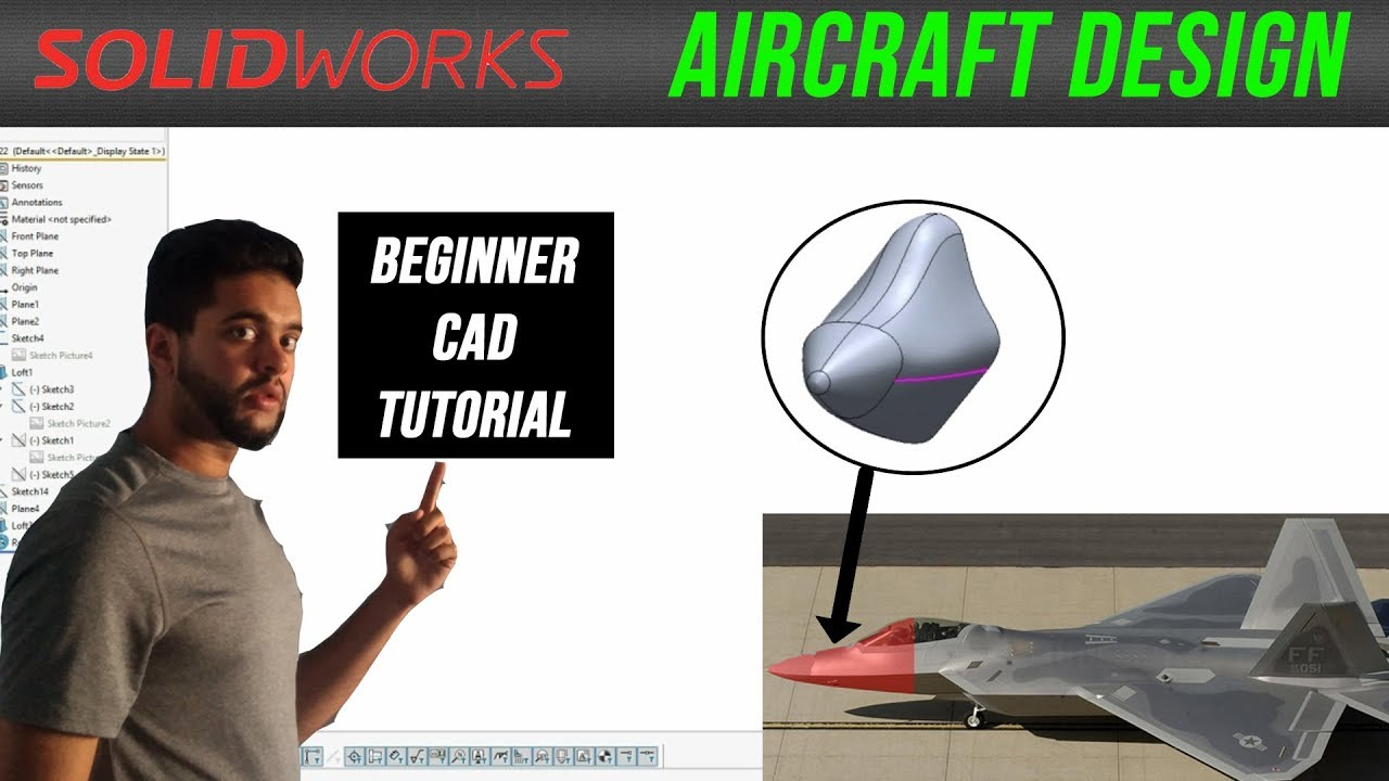Solidworks Loft Basics - Design an Aircraft Nosecone (CAD Tutorial for  Beginners! - B737 & F-22)