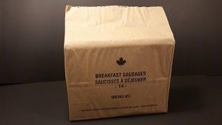 2014 Canadian IMP Individual Meal Pack MRE Review Breakfast Sausage Military Food Tasting