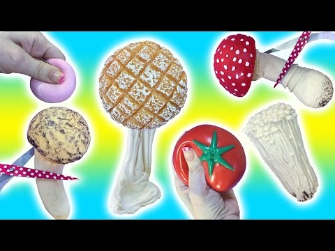 Cutting Open SQUISHY Toy Mushrooms! Tomato Stress Ball! SANDY Squeeze Toys Doctor Squish