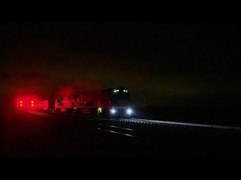 Container Freight Train At Night: service MA5 - PoathTV Australian Trains & Railways 2017
