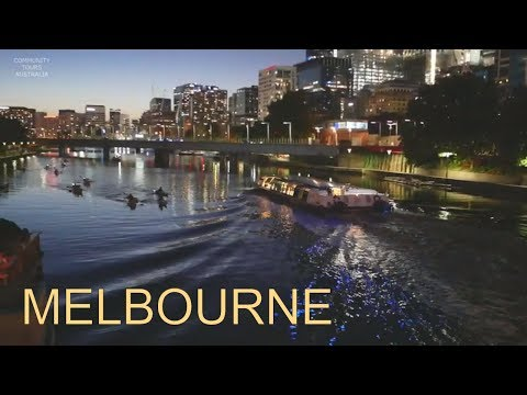 MELBOURNE CITY AT NIGHT WALKING DOWN SOUTHBANK AND THE YARRA RIVER 2019