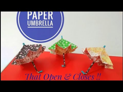 How to make a Paper Umbrella that Open & Closes (EASY) ~ DIY ~ Step by Step Instructions /Tutorial