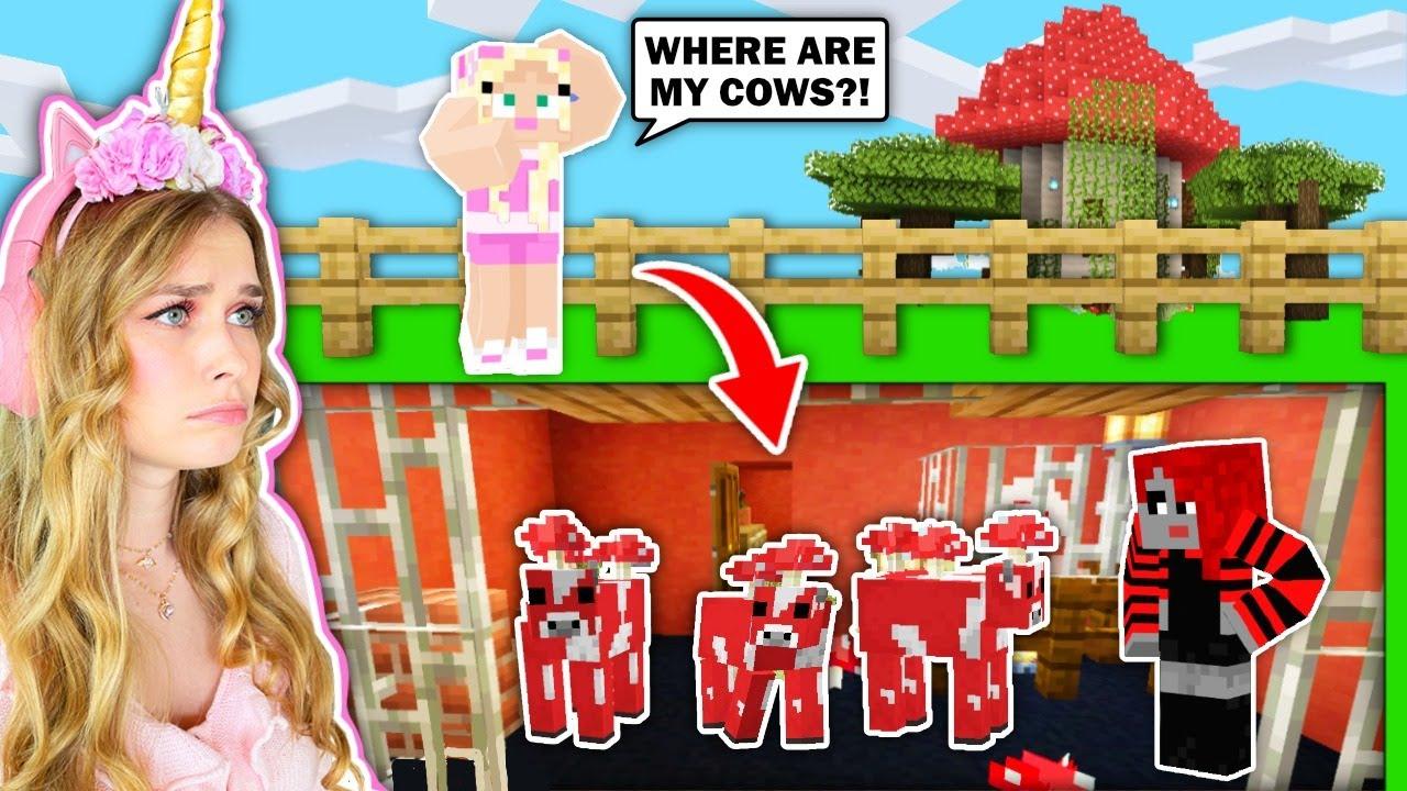 My BEST FRIEND Built A *SECRET* UNDERGROUND HOUSE To TRAP MY MUSHROOM COWS In Minecraft!