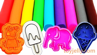 Learn Colors Play Doh Modeling Clay Peppa Pig, Popsicle, Ice Cream, Elephant Cookie Cutter Cars Mold