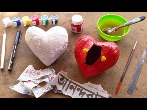Paper Heart Gift Box   Paper Box DIY   Paper Bpx With Thermocol Mould Making