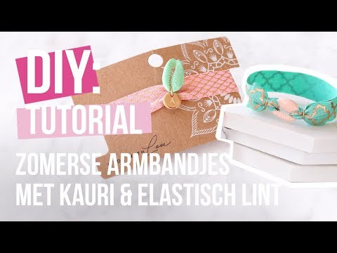 Sieraden maken: Zomerse armbandjes met kauri schelpjes en elastisch lint ♡ DIY