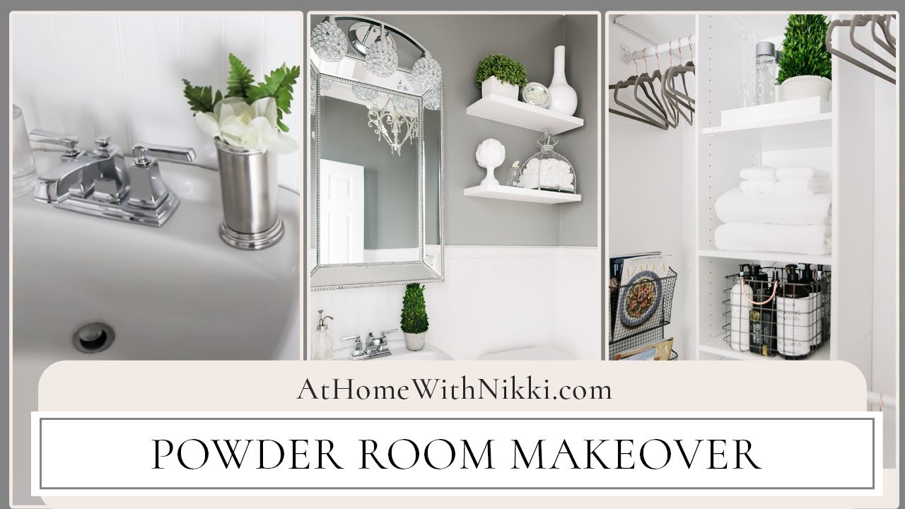 Home decor powder room makeover youtube Home decor survivor 6