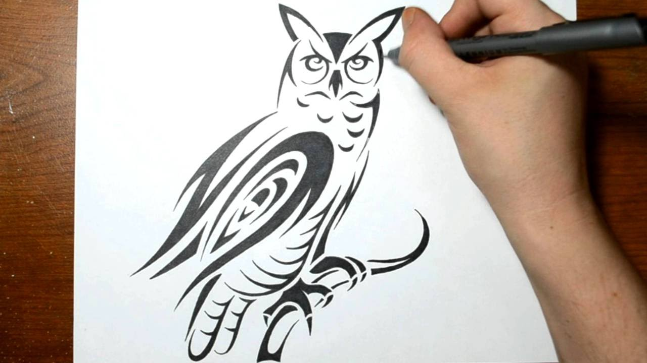 How To Draw An Owl In Tribal Art Form Real Time Youtube