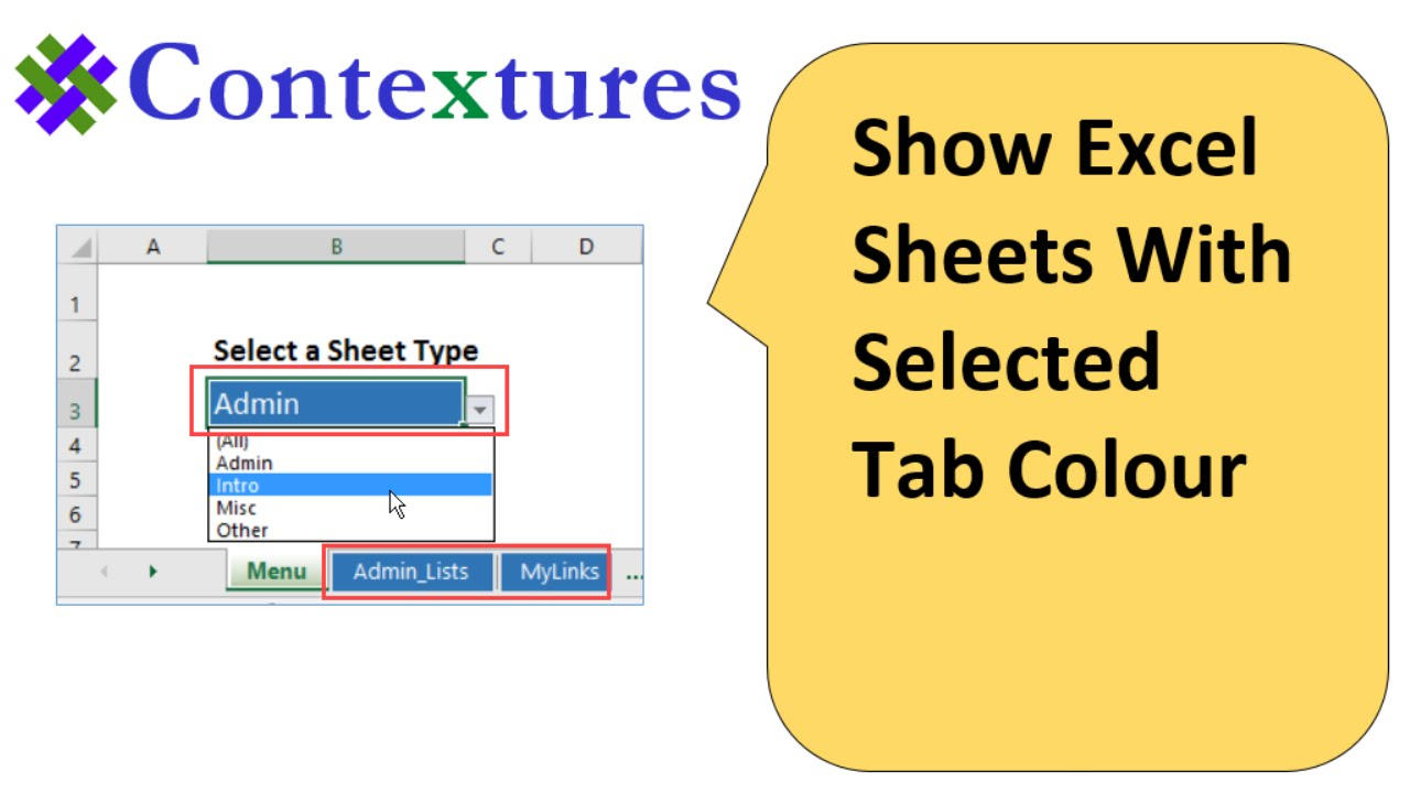 Coloring sheet tabs in excel - Show Excel Sheets With Selected Tab Color