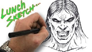 Drawing a Vampire - Lunch time sketch...Straight to Ink - Narrated Video