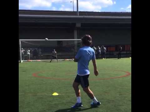 Andrea Pirlo demonstrates free kick technique for the kids of Downtown United Soccer Club