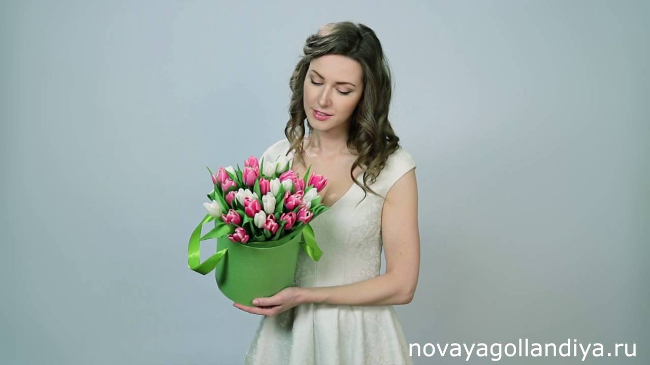 Пионовидные розы в шляпной коробке под дерево - YouTube