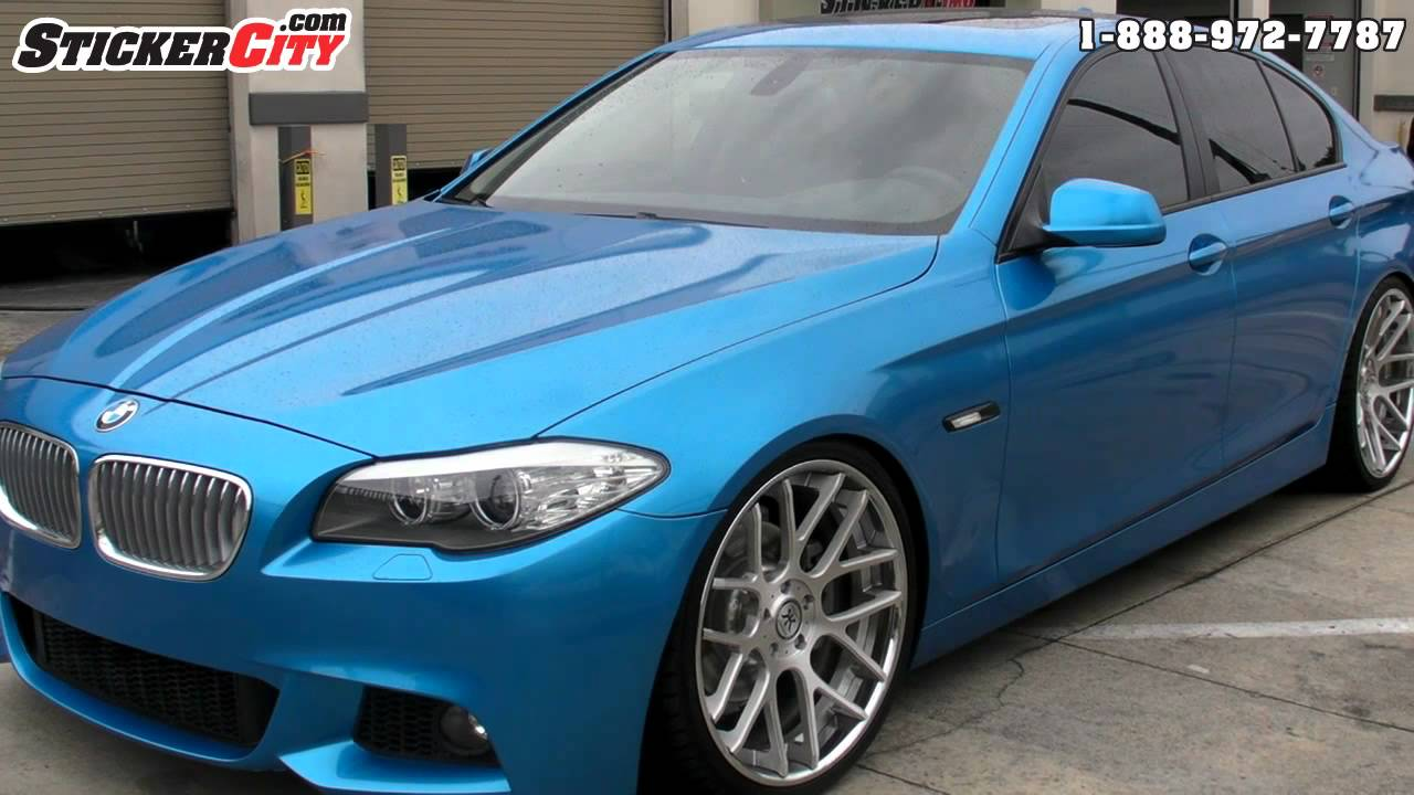 Metallic Blue Bmw 5 Series Car Wrap By Stickercity Com Youtube