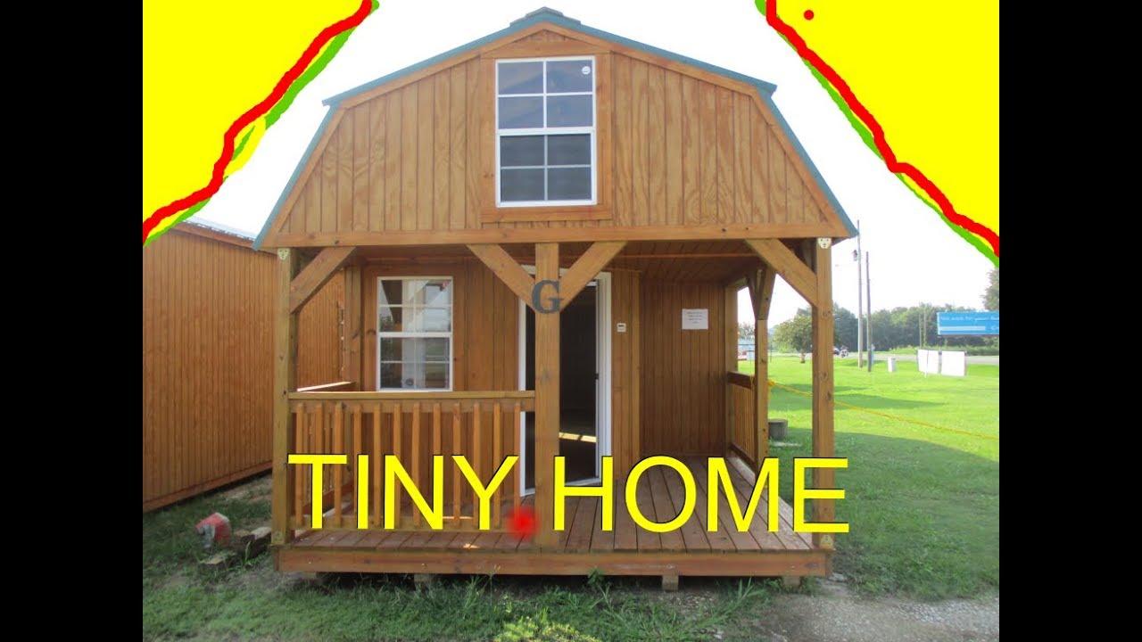 Wraparound porch lofted barn cabin tiny house 12x32 - YouTube