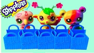 LPS Shopkins 5 Pack Mystery Surprise Blind Bag Toy Review Opening Littlest Pet Shop