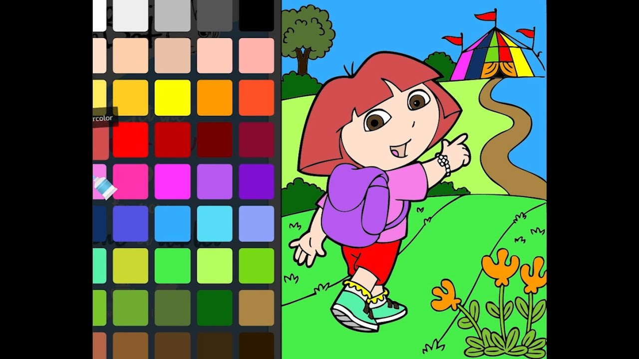 Coloring Book Dora The Explorer And Circus Page Speedcoloring