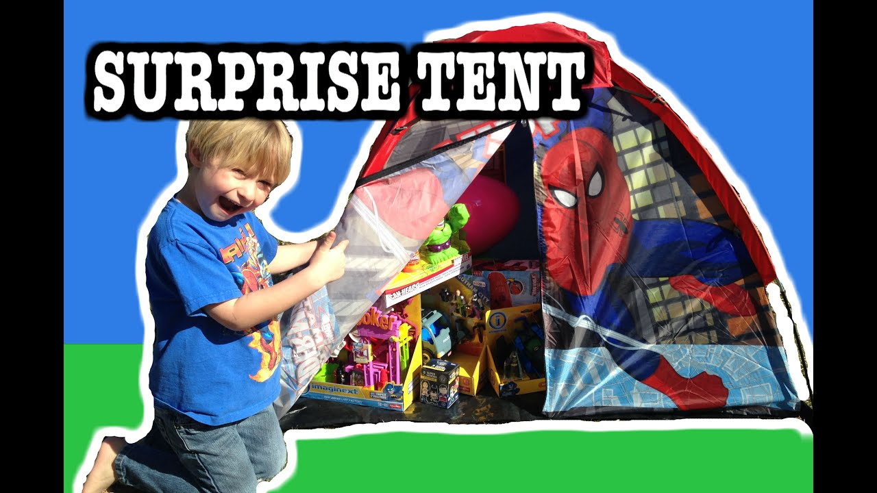 SPIDER-MAN Giant Surprise Tent with Hulk Spider-Man Batman and Joker Surprise Toys!  sc 1 st  YouTube & SPIDER-MAN Giant Surprise Tent with Hulk Spider-Man Batman and ...