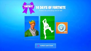 FORTNITE NEW FREE TAKE THE ELF EMOTE! NEW 14 DAYS OF FORTNITE FREE REWARDS! FREE SKIN REWARDS