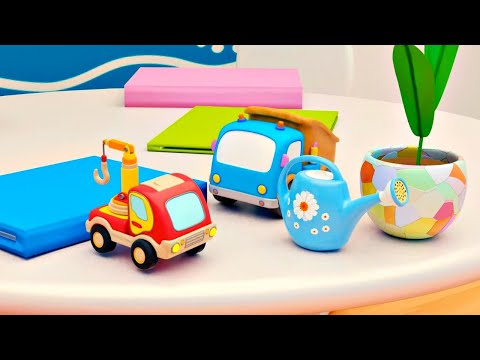 Toy Cars for kids Mocas & flowers. Cars cartoons for children in English.