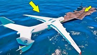 Pousando o ANTONOV o maior avião do MUNDO no PORTA AVIÕES do GTA V!
