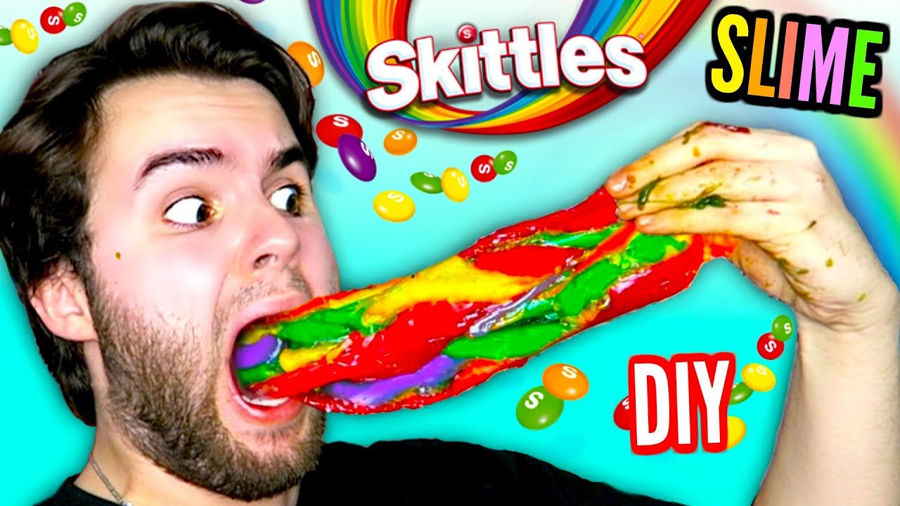 Download DIY SKITTLES SLIME   Edible Rainbow Slime Made From Actual Skittles Candy!