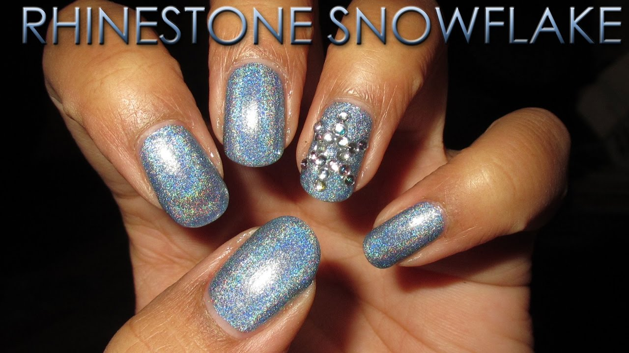 Rhinestone Snowflake Accent | 12 Days of Christmas Nail Art | DIY ...